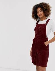 Pepe Jeans Shirley Corduroy Dungaree Dress Red