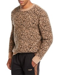 Ovadia And Sons Leopard Pattern Jacquard Crewneck Sweater Multi Pattern