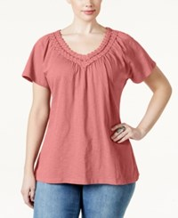 Jm Collection Plus Size Crochet V Neck Tee Only At Macy's Coral Shell