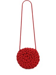 Alienina Round Rope Cotton Crossbody Bag Red