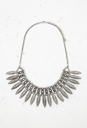 Forever 21 Almond Shaped Statement Necklace B.Silver Grey