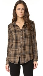 Sundry Basic Plaid Shirt Military