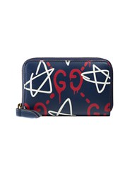 Guccighost Wallet Men Leather One Size Blue
