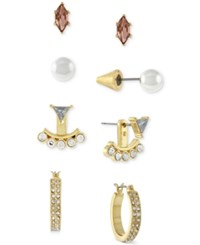 Bcbgeneration Gold Tone Peach Crystal And Imitation Pearl Earring Set