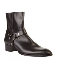 Saint Laurent Whyatt Leather Harness Ankle Boot Male