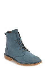 Blackstone Women's 'Kl67' Lace Up Boot Mallard Blue Nubuck Leather