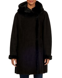 Gorski Franca Short Hooded Shearling Fur Trim Suede Coat Black
