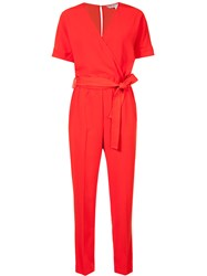 Trina Turk Belted Jumpsuit Red