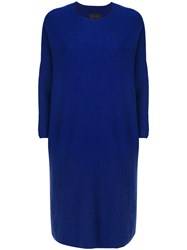 Oyuna Crew Neck Knitted Dress Women Cashmere One Size Blue