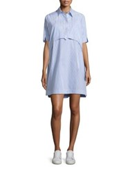 Opening Ceremony Cotton Elliptical Hem Dress Pale Blue Multi
