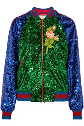 Gucci Appliqued Sequined Tulle And Satin Bomber Jacket Green