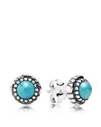Pandora Design Pandora Earrings Sterling Silver And Turquoise Birthday Blooms December Stud