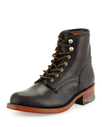 Frye Engineer Artisanal Lace Up Leather Boot Black