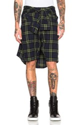 R 13 R13 Cornell Shorts In Green Blue Checkered And Plaid