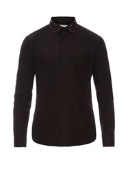 Givenchy Slim Fit Studded Collar Cotton Shirt