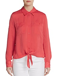 Ellen Tracy Long Sleeve Satin Tie Front Shirt Rose
