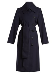 Acne Studios Creda Double Breasted Trench Coat Navy