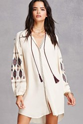 Forever 21 Embroidered Peasant Dress Cream