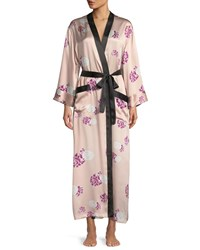 Neiman Marcus Contrast Trim Floral Print Silk Robe