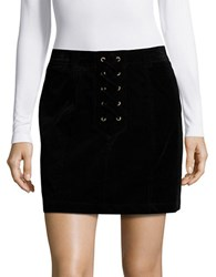 Design Lab Lord And Taylor Corduroy Lace Up Mini Skirt Black