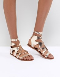 Warehouse Ankle Tie Leather Gladiator Sandals Gold