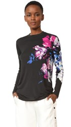 Prabal Gurung Long Sleeve Printed Tee Black Multi