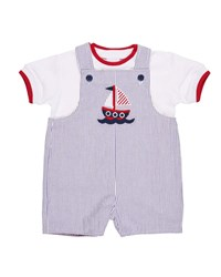 Florence Eiseman Seersucker Reversible Shortall W T Shirt Red Blue