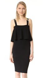 Milly Flounce Fitted Dress Black