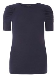 Dorothy Perkins Navy Ruched Sleeve T Shirt Blue