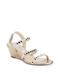 Nina Naleigh Satin Wedge Heel Sandals Blush Taupe