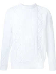 Mr. Gentleman Cable Knit Jumper White