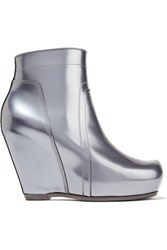 Rick Owens Metallic Leather Wedge Ankle Boots