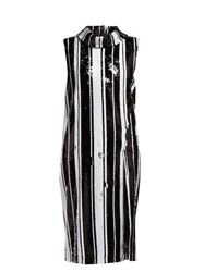 Halpern Sequinned High Neck Midi Dress Black White