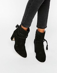 Dune Onyx Tie Wrap Suede Heeled Ankle Boots Black Suede