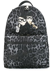 Dolce And Gabbana Volcano Designer's Patch Backpack Grey
