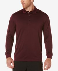 Pga Tour Men's Heathered Long Sleeve Polo Caviar Port