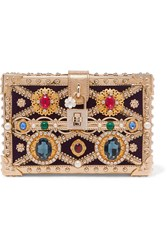 Dolce And Gabbana Box Embellished Metallic Patent Leather Velvet Clutch Gold