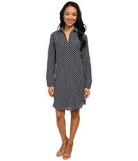 Kut From The Kloth Long Sleeve Shirt Dress Indigo White Women's Dress Navy