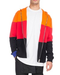 Givenchy Colorblock Cotton Zip Front Hoodie Orange