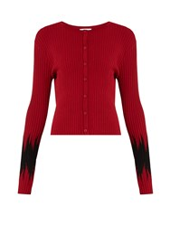 Tomas Maier Abomb Cropped Ribbed Knit Cardigan Red Multi