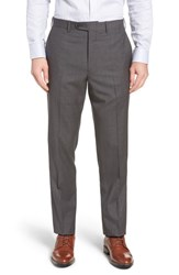 John W. Nordstrom Torino Traditional Fit Flat Front Houndstooth Trousers Grey