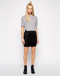 Selected Mini Skirt With Contrast Panels And Zips Black