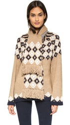 See By Chloe Cardigan With Scarf Navy Camel
