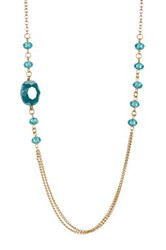 Blue Zircon Caged Crystal Station Necklace