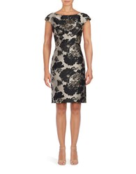 Vera Wang Floral Jacquard Shift Dress Silver