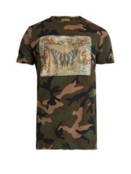 Valentino Camouflage Print Cotton Jersey T Shirt Grey Multi