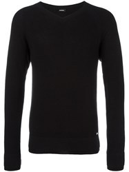 Diesel Ribbed V Neck Jumper Black