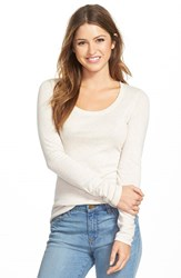 Petite Women's Caslon 'Melody' Long Sleeve Scoop Neck Tee Heather Oatmeal
