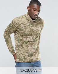 Puma Roll Neck Long Sleeve Top In Floral Print Exclusive To Asos Green