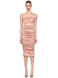 Dolce And Gabbana Lace Up Ruched Silk Satin Dress Pink